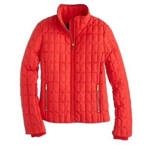 J. Crew Red Quilted Snowcap Jacket goose down SM